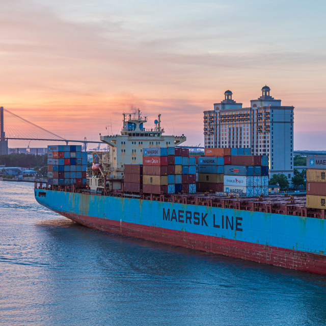 """""""Maersk Line into Sunset"""" stock image"""