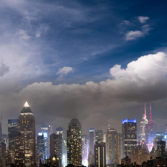 """Panoramic night skyline of Midtown Manhattan at winter sunset, New York City"" stock image"