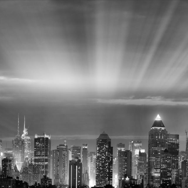 """Panoramic night skyline of Midtown Manhattan at dusk, New York City"" stock image"