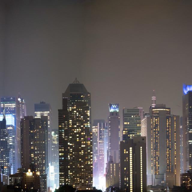 """""""Panoramic night skyline of Midtown Manhattan at night, New York City, USA"""" stock image"""