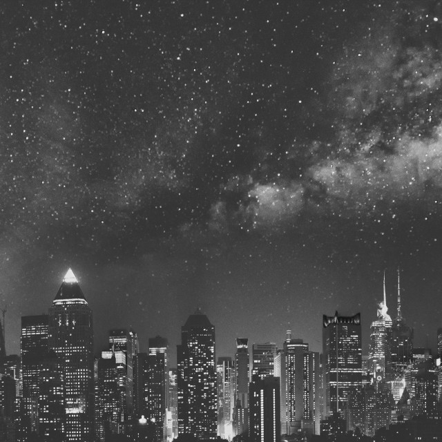 """""""Panoramic night skyline of Midtown Manhattan on a starry night, New York..."""" stock image"""