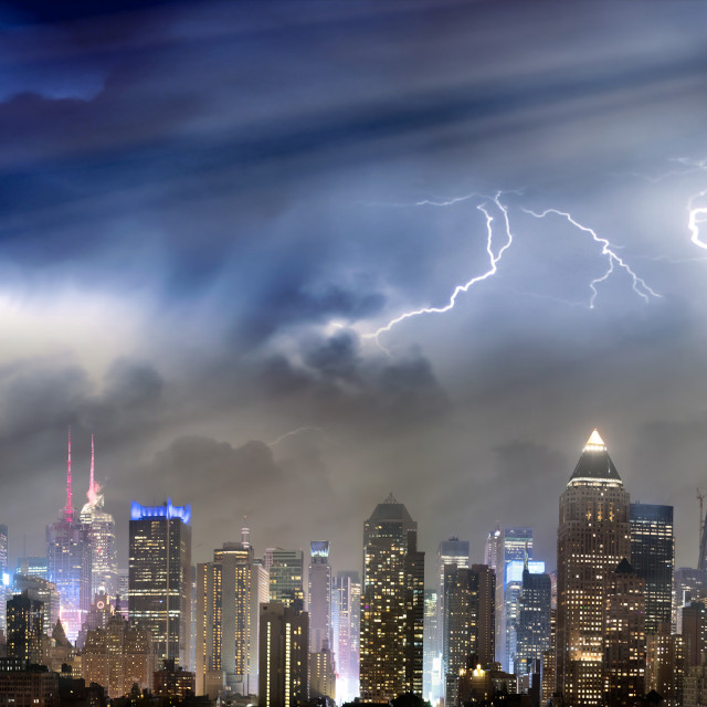 """""""Panoramic skyline of Midtown Manhattan with storm approaching, New York City,..."""" stock image"""