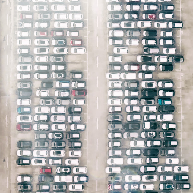 """""""Aerial downward view of huge outdoor car parking lots"""" stock image"""