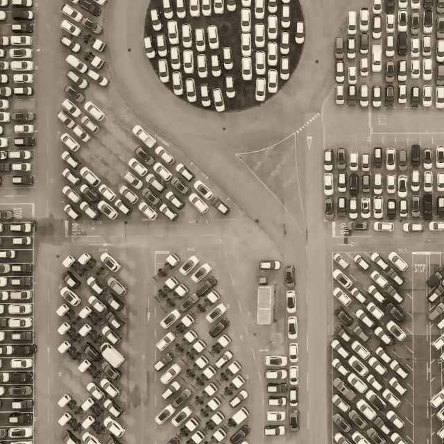 """""""Aerial overhead view of Cars For Sale Stock Lot Row. Car Dealer Inventory."""" stock image"""