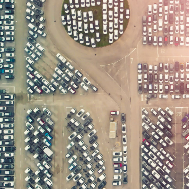 """""""Overhead aerial view photo vehicle lot showing new produced cars by..."""" stock image"""