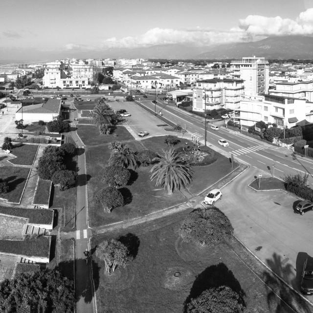 """""""Drone aerial view of Viareggio. Cityscape along the sea"""" stock image"""