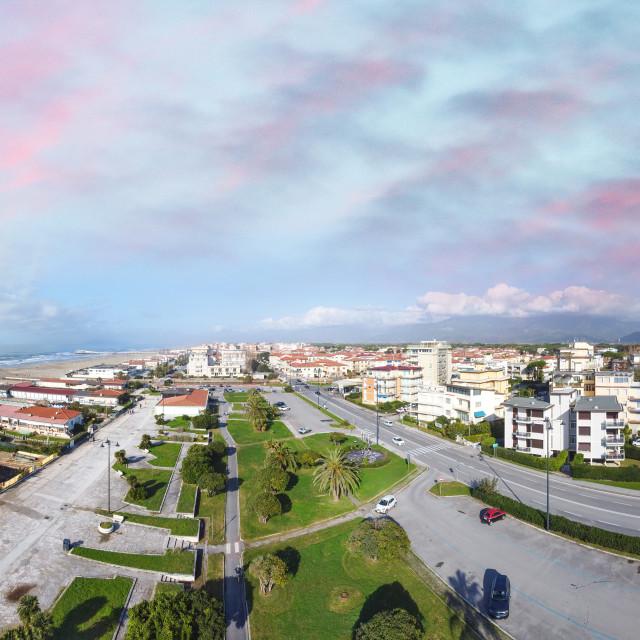 """""""Aerial panoramic view of Viareggio skyline with promenade and sea, Tuscany,..."""" stock image"""