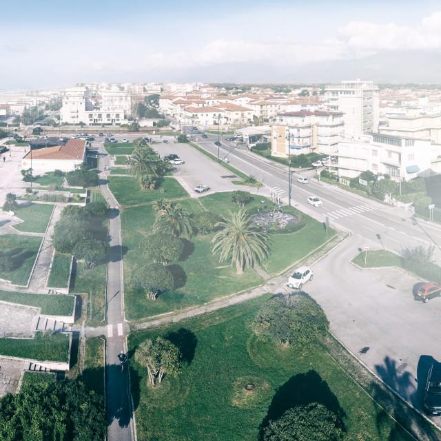 """""""VIAREGGIO, ITALY - NOVEMBER 30, 2019: Aerial panoramic view of city skyline..."""" stock image"""