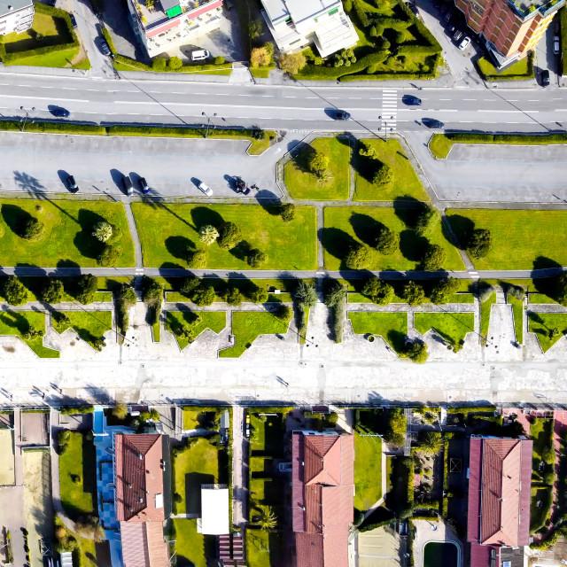 """Promenade of Viareggio, Italy. Panoramic overhead downward view of street and..."" stock image"