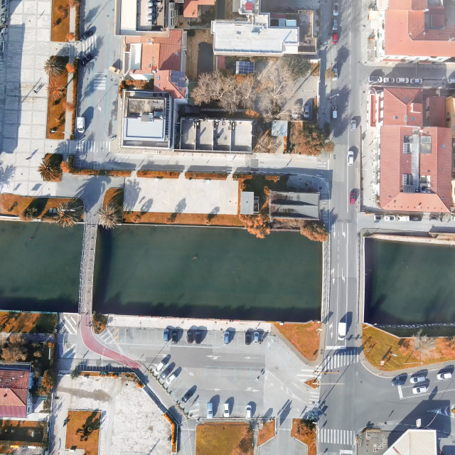 """""""Panoramic overhead downward view of street and homes of Italy"""" stock image"""