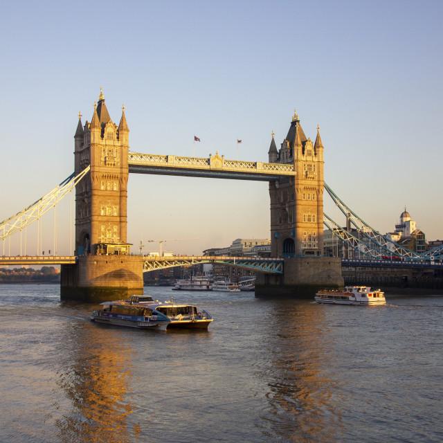 """London Tower Bridge at dusk"" stock image"