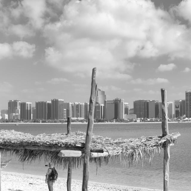 """ABU DHABI, UAE - DECEMBER 2016: Panoramic view of Abu Dhabi Downtown skyline..."" stock image"
