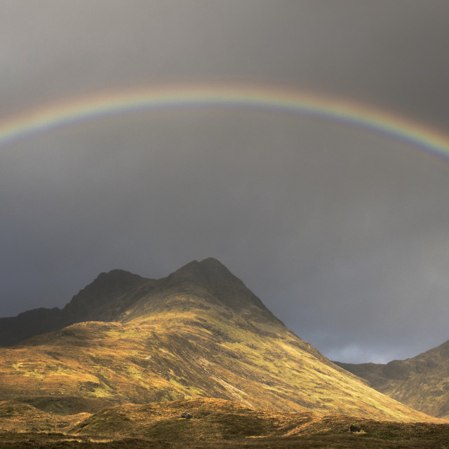"""Rainbow over the Cuillin mountains"" stock image"