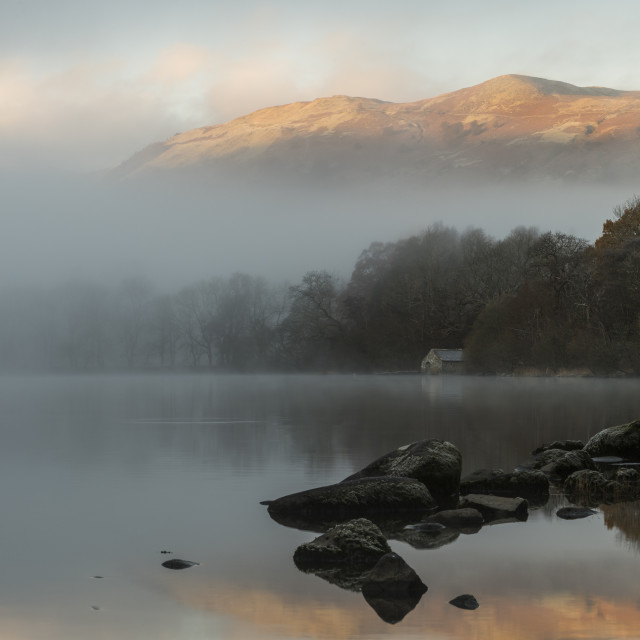 """Misty morning Ullswater"" stock image"