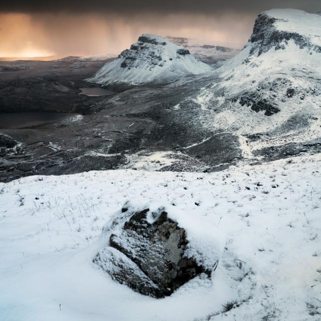 """Snowy dawn, the Quiraing, Isle of Skye"" stock image"