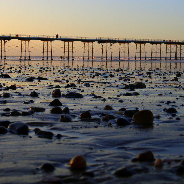 """Saltburn pier at low tide."" stock image"