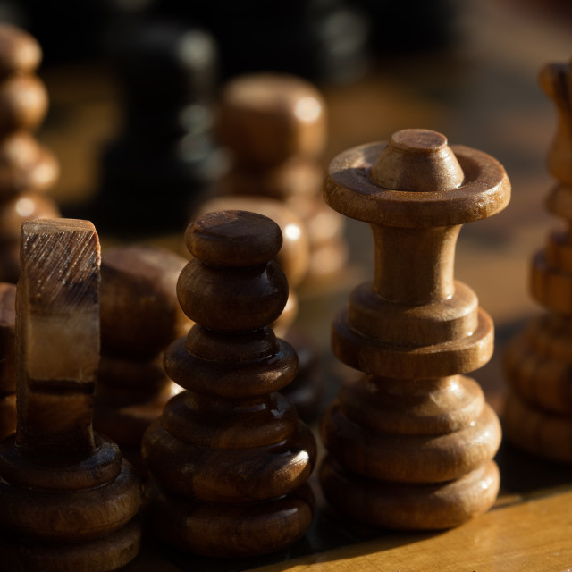 """""""Wooden chessboard on table"""" stock image"""