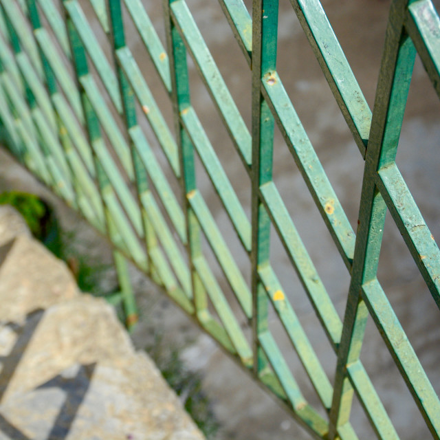 """""""The beauty of an old railing."""" stock image"""