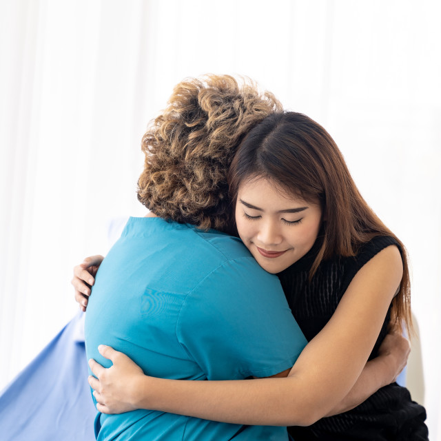 """Daughter hug elderly mother"" stock image"