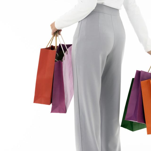 """Muslim girl shopping bags close-up"" stock image"