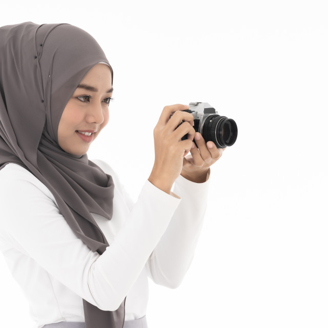 """""""Muslim girl Camera"""" stock image"""