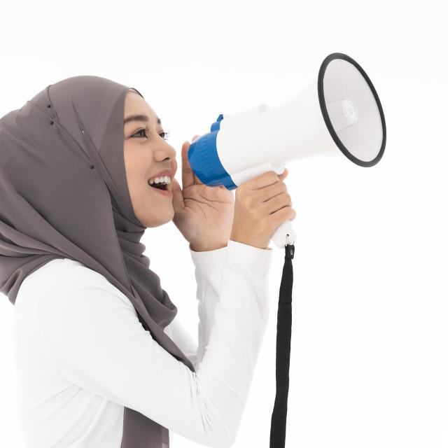"""""""Muslim girl Megaphone"""" stock image"""