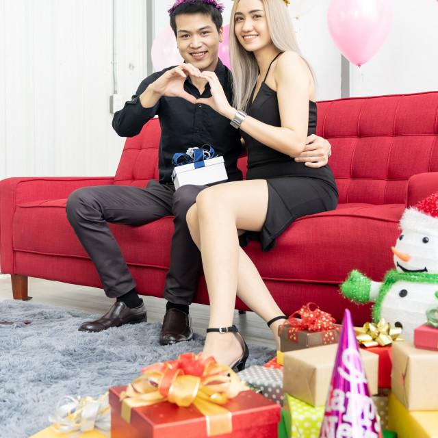 """couple celebrate new year portrait"" stock image"