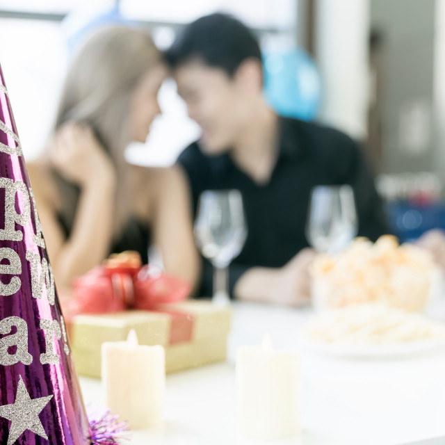 """""""Background of couple celebrate new year party"""" stock image"""