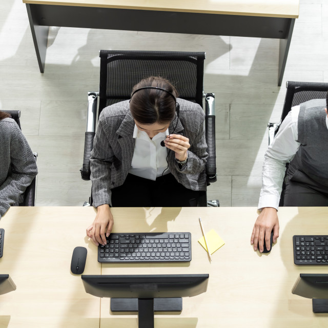 """""""Call center team working top view"""" stock image"""