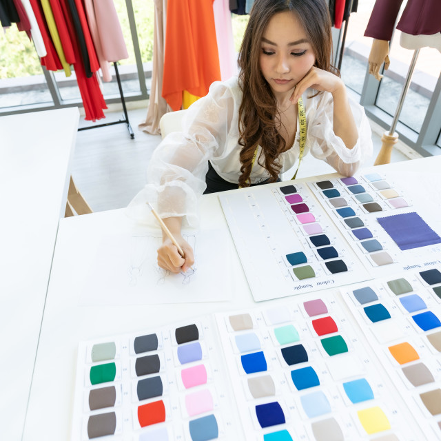 """""""Fashion designer owner sketching"""" stock image"""