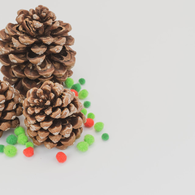 """pine cone with decors on a blank surface"" stock image"