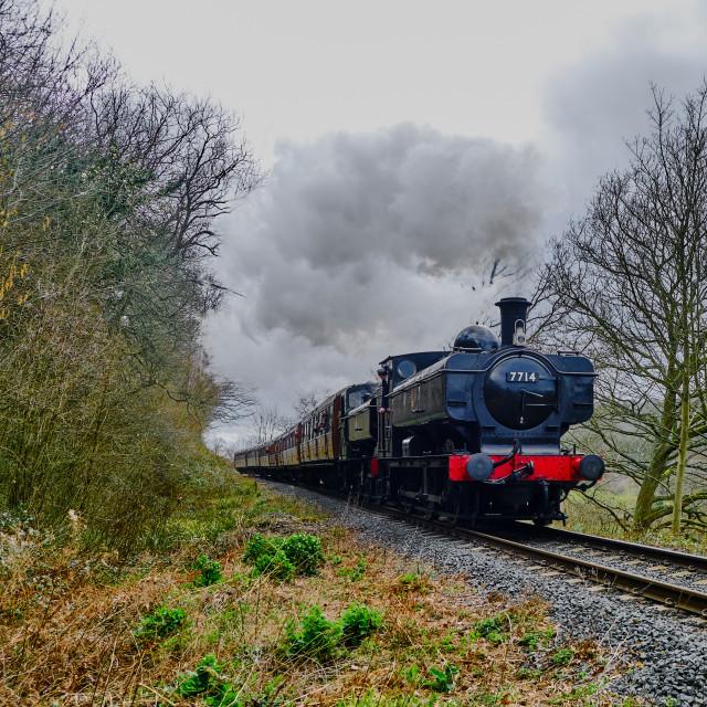 """""""GWR 5700 Class 0-6-0PT No.7714"""" stock image"""