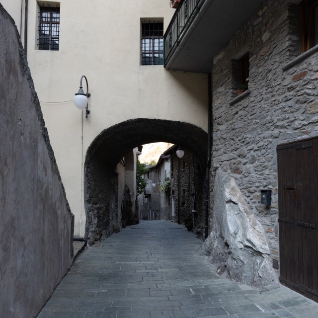 """""""Alley in the mountain village in Bard, vertical image"""" stock image"""