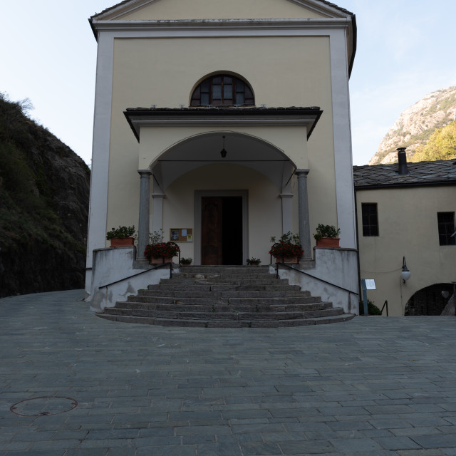 """""""Front view of a small mountain church in Bard municipality"""" stock image"""