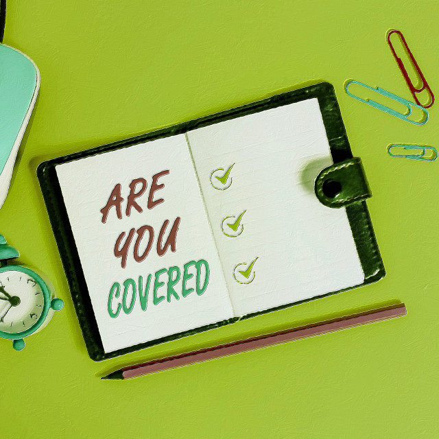 """""""Word writing text Are You Covered. Business concept for Asking about how..."""" stock image"""