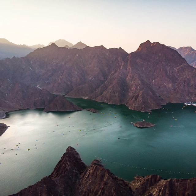 """Aerial view of Hatta dam lake in Dubai emirate of UAE"" stock image"