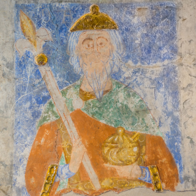 """""""Ancient mural painting of King David in the Old Testament"""" stock image"""