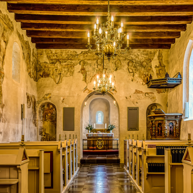 """""""Interior of a medieval church with flat ceiling and romanesque m"""" stock image"""
