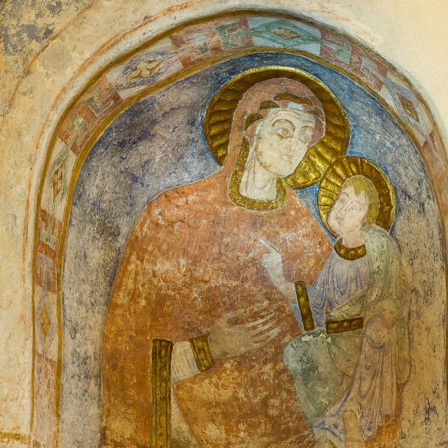 """""""Romanesque mural painting of the madonna and the child"""" stock image"""