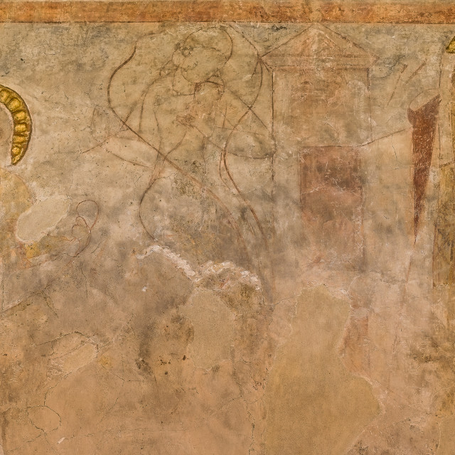 """""""Romanesque mural painting of three figures"""" stock image"""