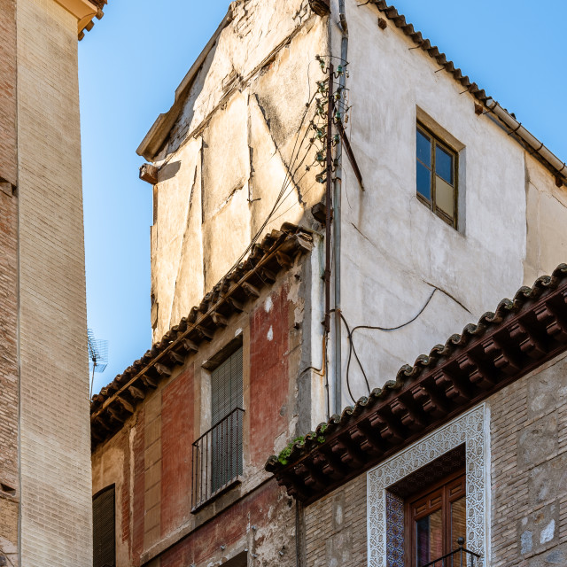 """Old houses in the jewish quarter of Toledo, Spain"" stock image"