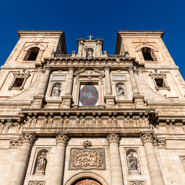 """Church of San Ildelfonso in Toledo. Low angle view against sky. Jesuit church"" stock image"