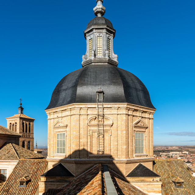 """Church of San Ildelfonso in Toledo, Spain. Jesuit church. lantern tower and roofs"" stock image"