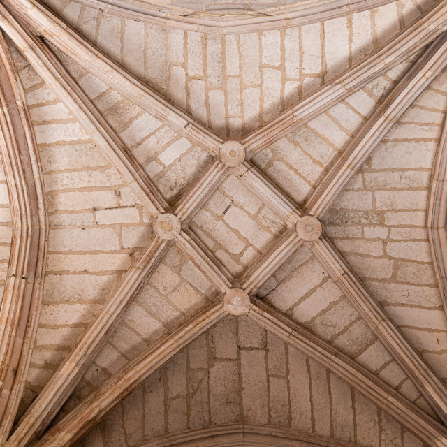 """Gothic style ribbed vault in the Monastery of San Juan de los Reyes of Toledo, Spain"" stock image"