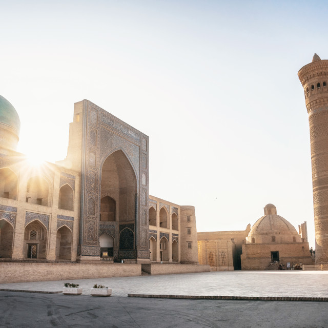 """Poi Kalan located around the Kalan minaret in Bukhara, Uzbekistan"" stock image"