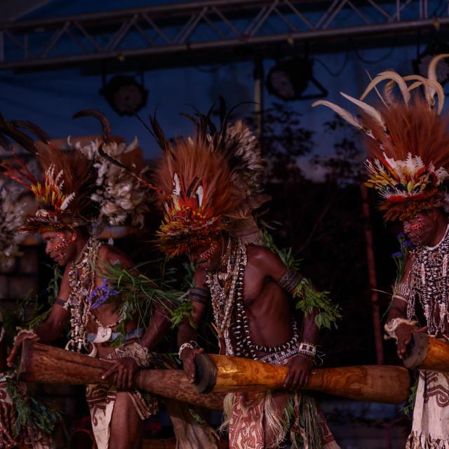 """Tufi tribe at Lo Spirito Del Pianeta (BG) 01-06-2018"" stock image"