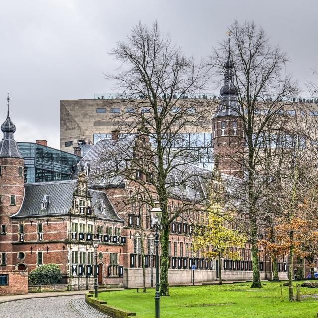 """Groningen Martini-kerkhof with Forum building"" stock image"