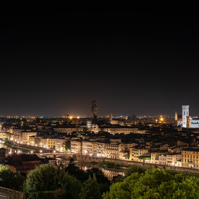 """""""Night view from above of the city of Florence"""" stock image"""