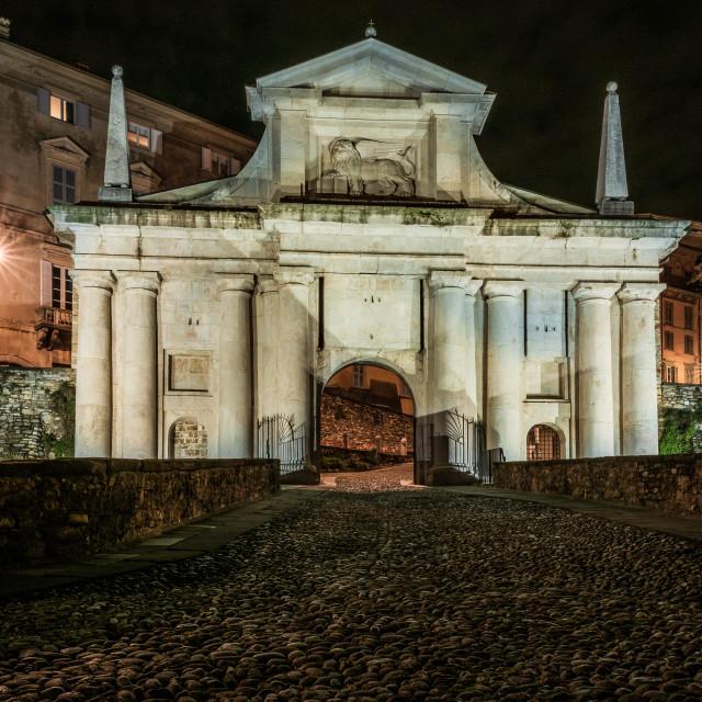 """Front view of Porta San Giacomo in the upper city of Bergamo. Ni"" stock image"