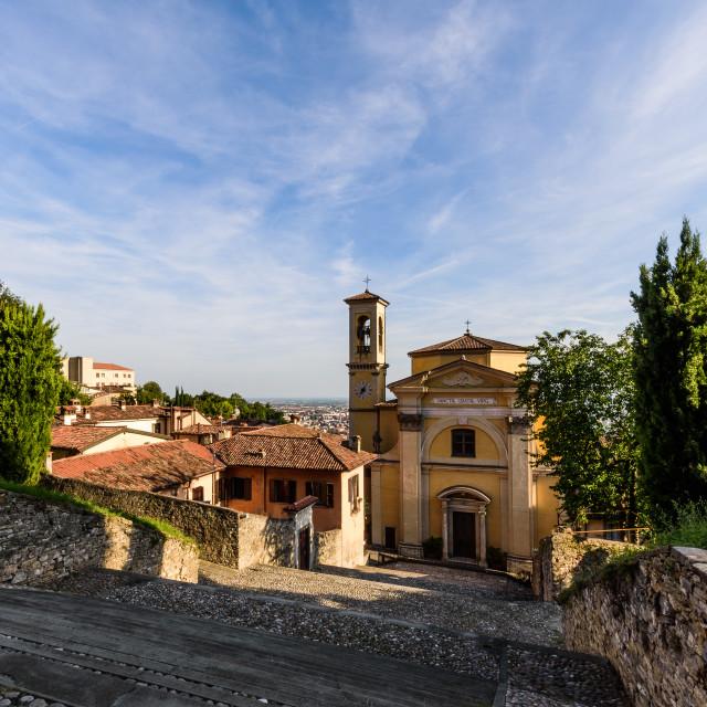 """Church of Santa Grata inter Vites in Città Alta in Bergamo"" stock image"